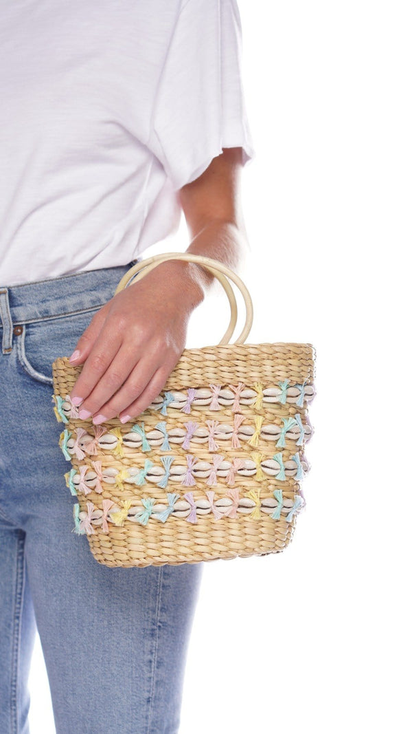 The Mak Rainbow Embellished Wicker Tote