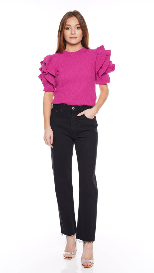 RED VALENTINO - Pink Ribbed Knit Sweater With Ruffled Short Sleeves