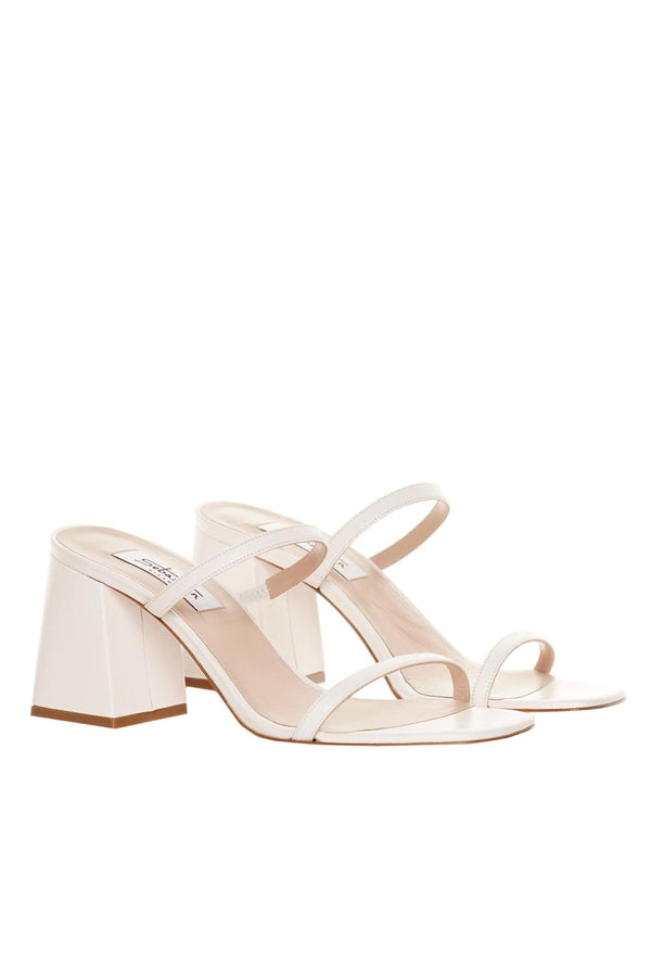 White Leather Mid-Heel Sandals