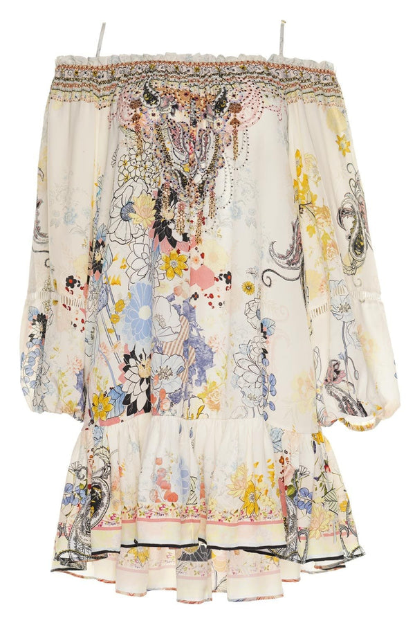 Britain Bouquet Off-Shoulder Dress with Straps