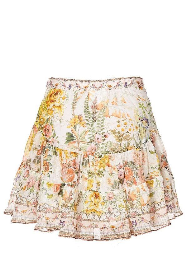 Camilla - Yellow and Pink Floral Gathered Panel Mini Skirt