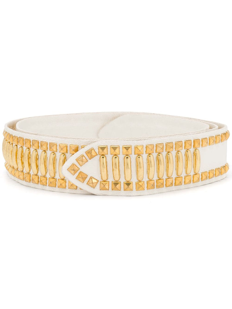 Alberta Ferretti White Gold-Toned Studded Leather Waist Belt