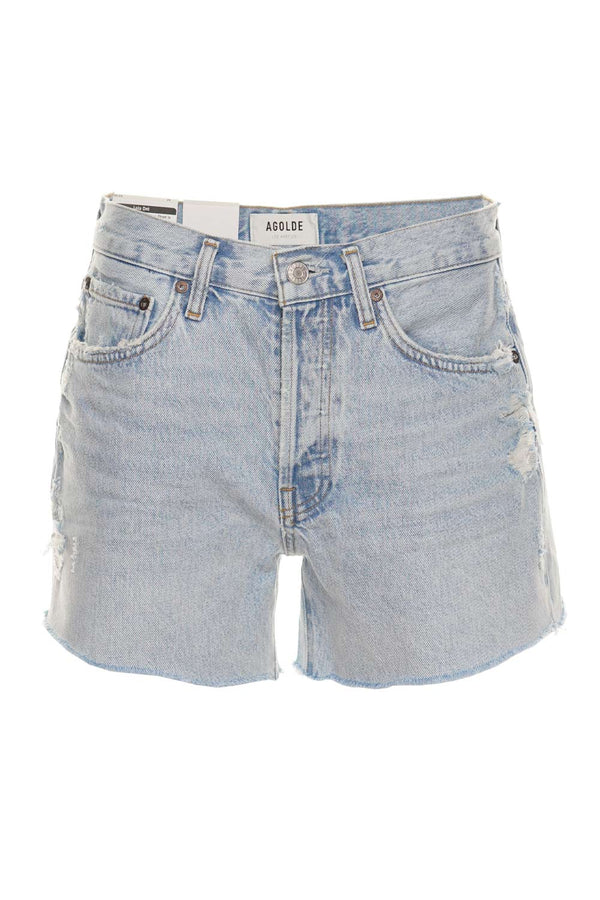 AGOLDE Parker Parade Long Denim Cut-Off Shorts