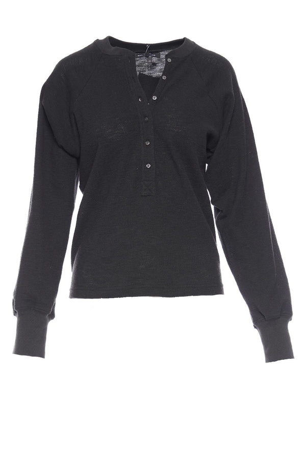 Marissa Webb - So Uptight Black Waffle Knit Henley