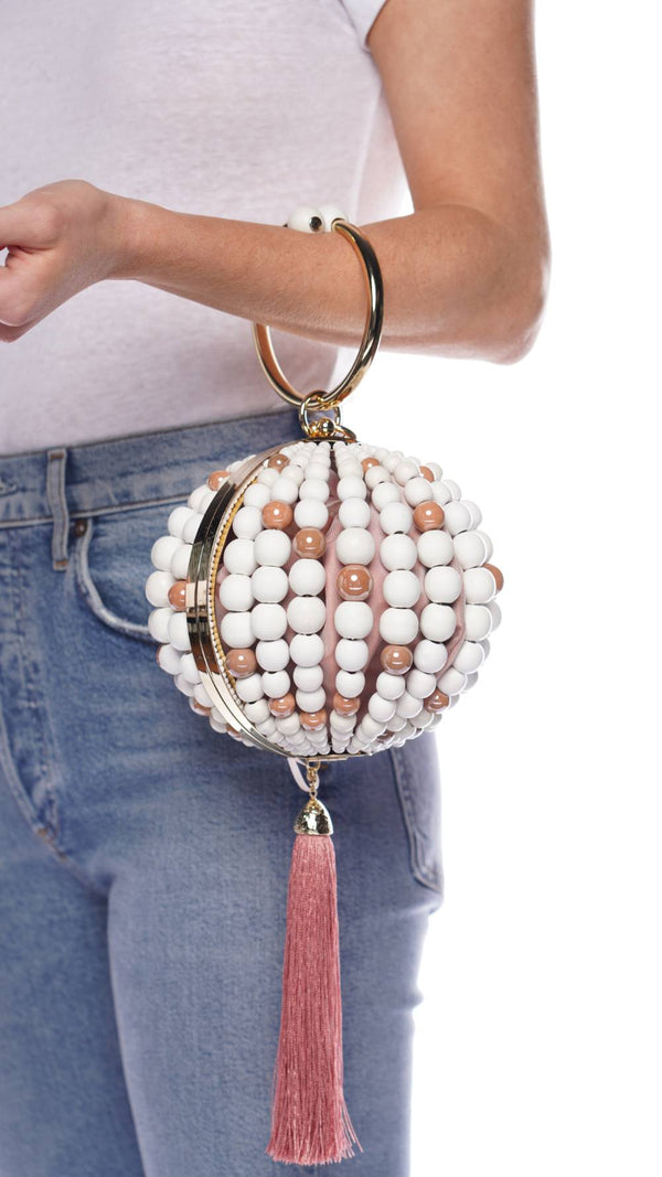 ROSANTICA Billie Pink Pazza Wooden Beaded Bag