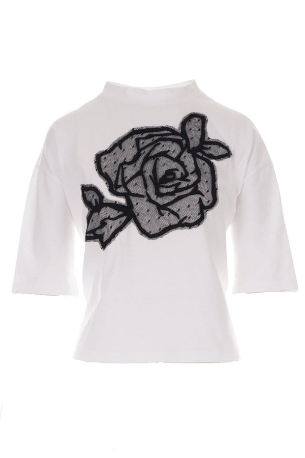 RED VALENTINO - White T-Shirt With Point D'Esprit Rose Detail