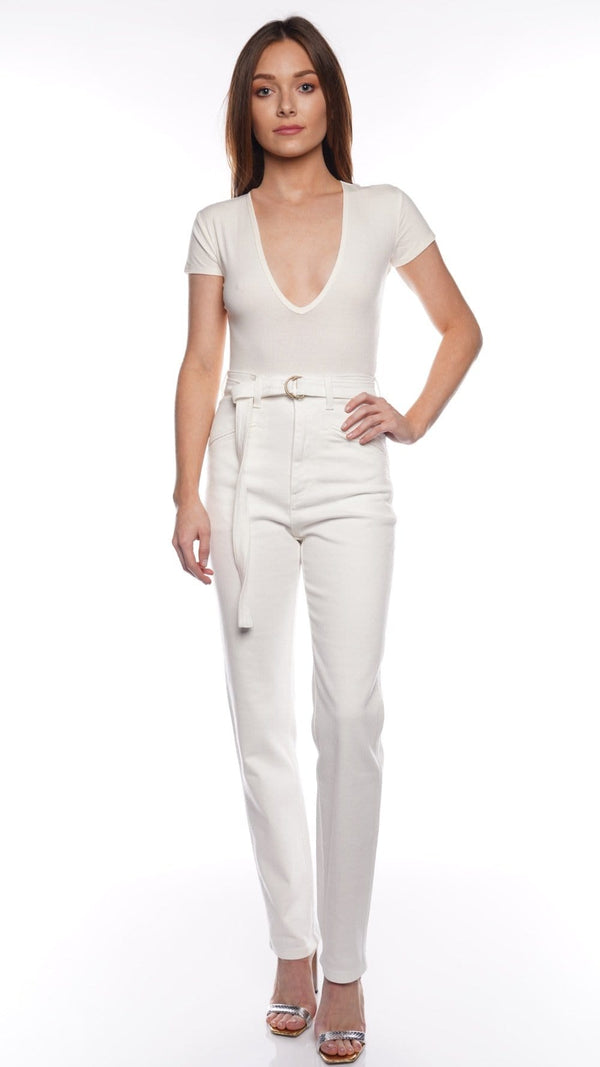 Dani Ivory V Neck Ribbed Bodysuit