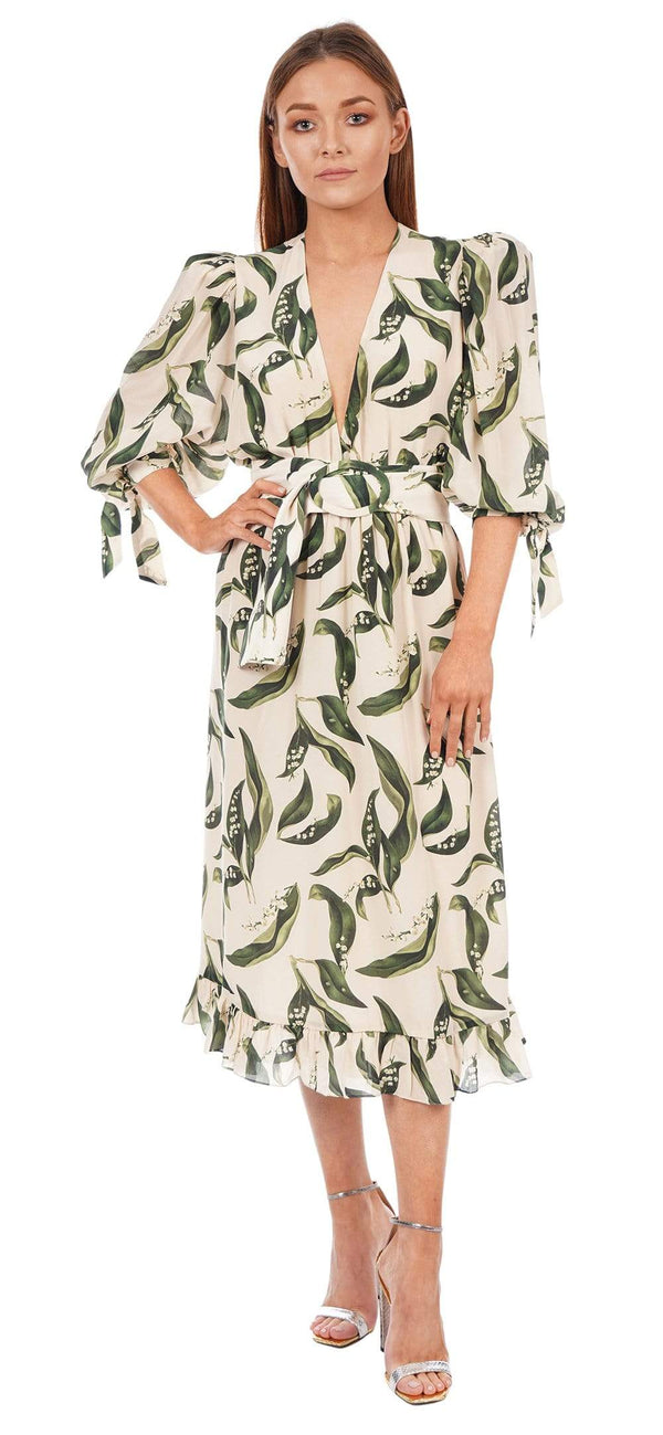 ADRIANA DEGREAS - Floral Foliage Puff-Sleeve Midi Dress with Belt
