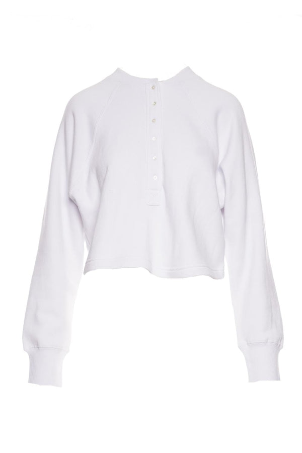 Marissa Webb - So Uptight White French Terry Plunge Henley Sweatshirt
