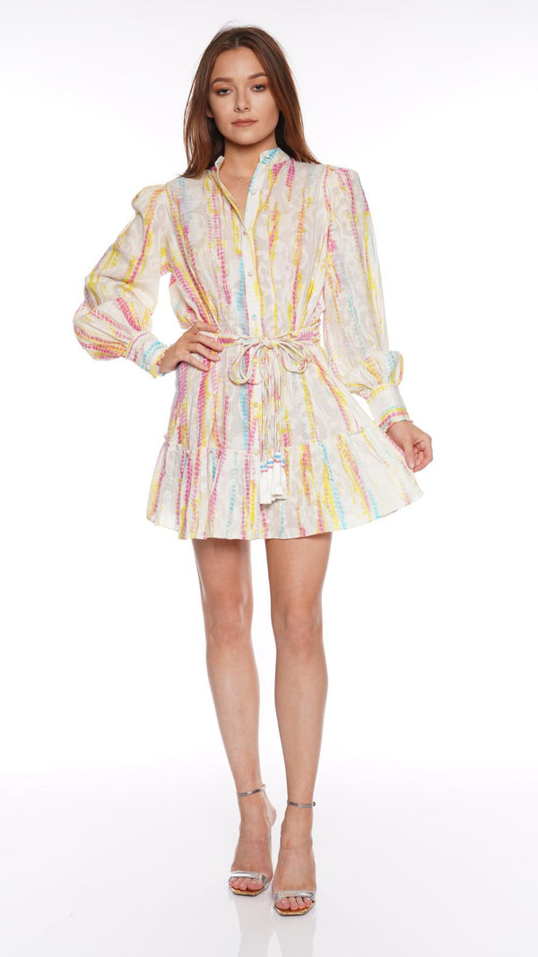 Hemant and Nandita - Ann Long Sleeve Mini Shirt Dress