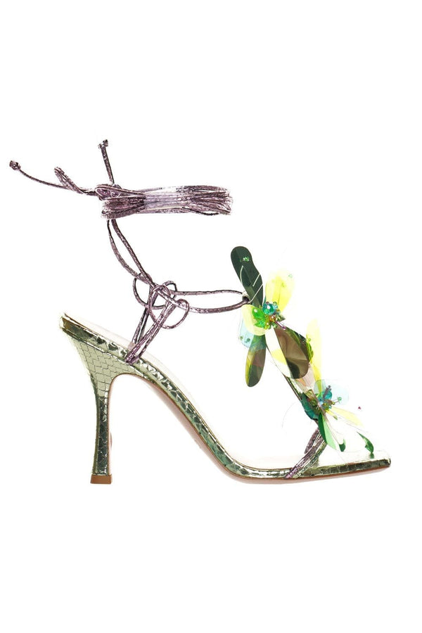 Flower Detailed Python Print Heeled Sandal