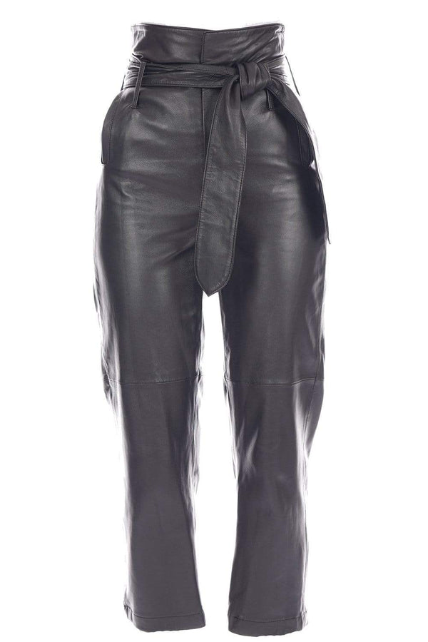 Brennan Tie-Waist Leather Pants