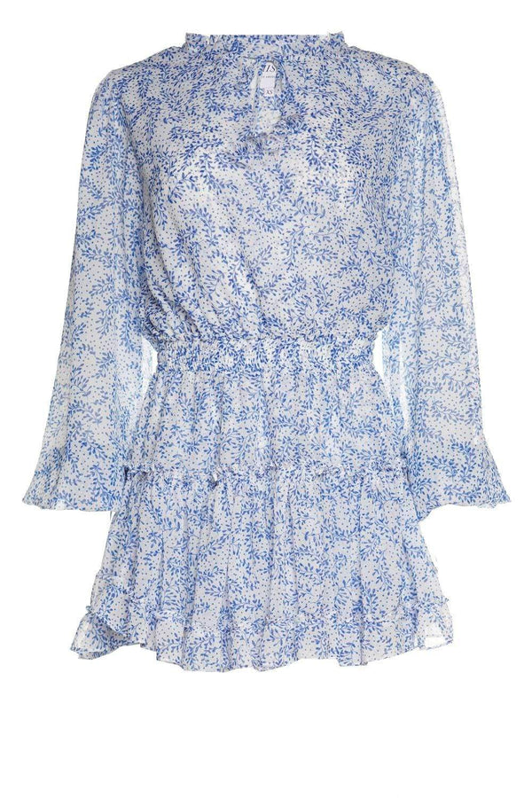 Lorena Blue Petals Chiffon Mini Dress