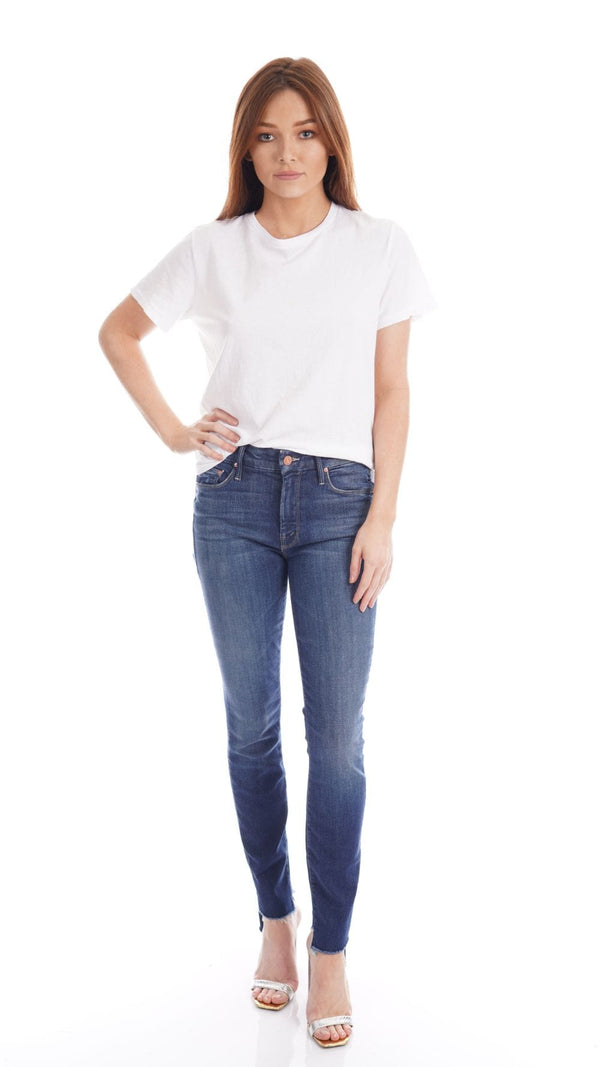 MOTHER Denim - The Looker Skunk at the Tea Party Two Step Ankle Fray Jeans