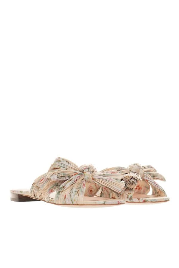 Loeffler Randall Daphne Floral Pleated Knot Leather Sandals