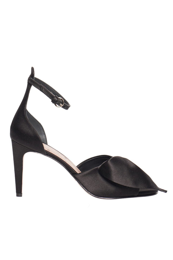 Black Bow Satin Heel Sandal
