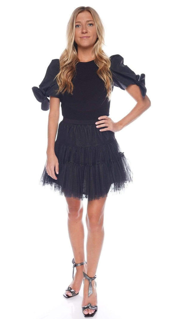 Black Tiered Tulle Mini Skirt