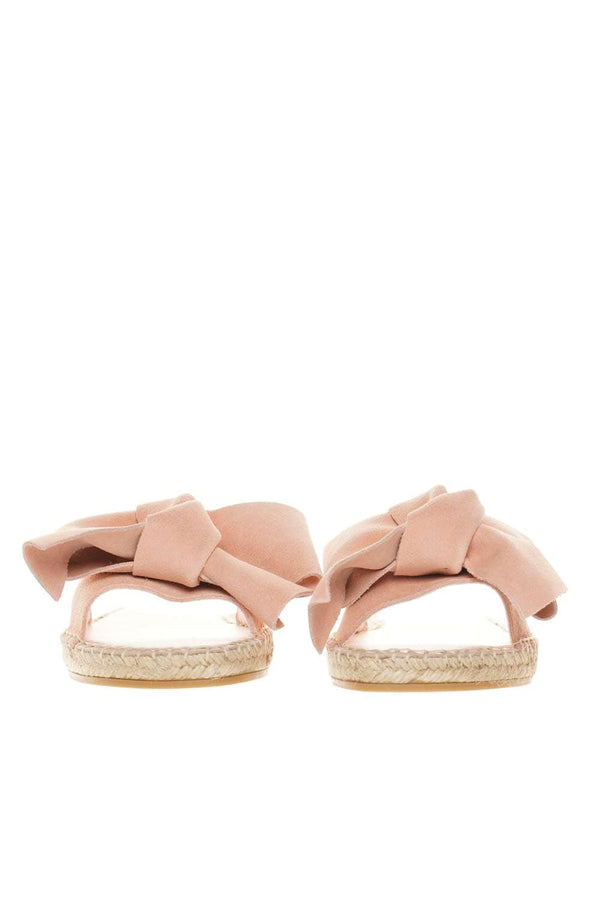 Hamptons Pastel Rose Bow Flat Sandals