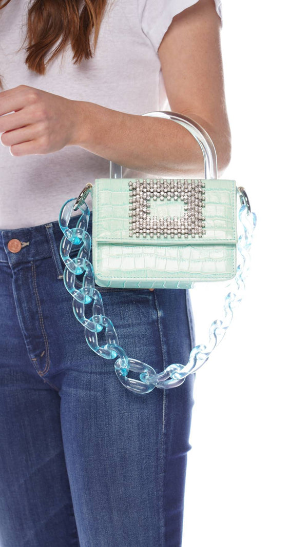Gedebe Mini Aqua Crystal Croc Embossed Leather Box Bag