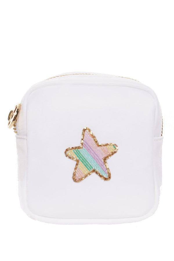 Stoney Clover Lane - Blanc Mini Pouch With Rainbow Glitter Star Patch