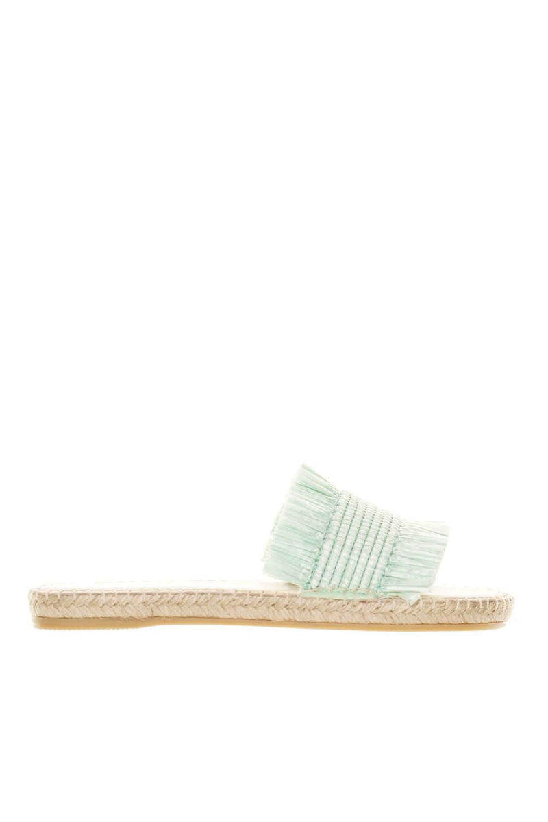 Manebi Capri Mint Fringed Slide Sandals