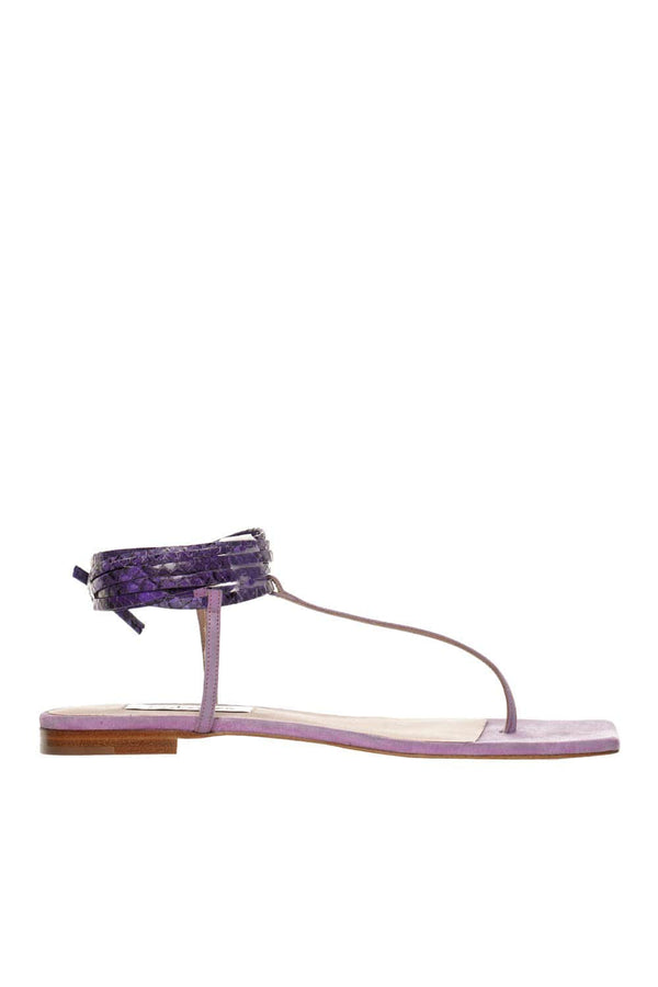 Snake Print And Suede Purple Thong Sandal
