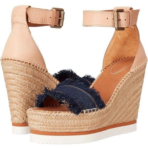 Raw Edge Denim Espadrille