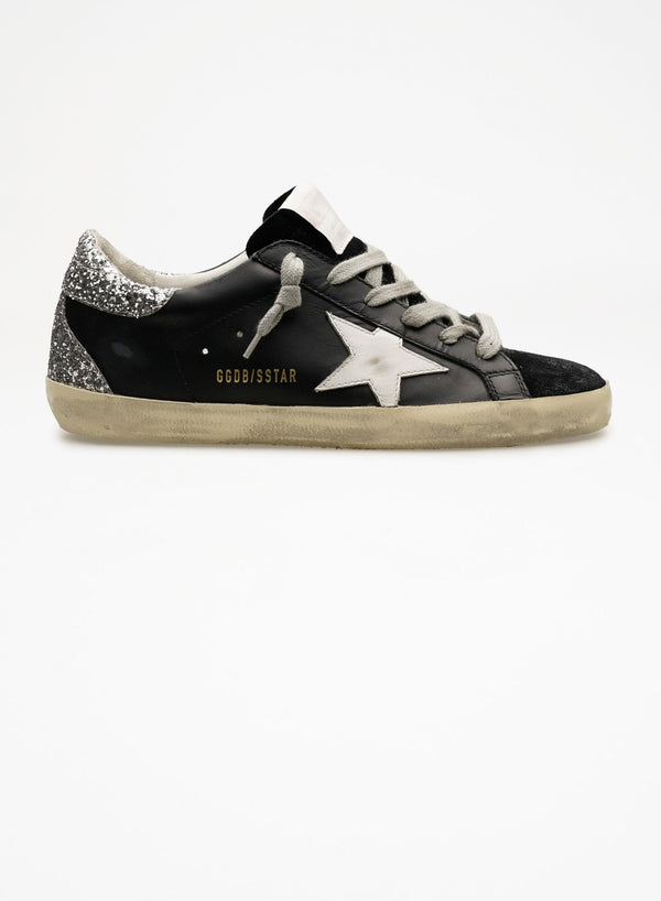 Black Leather and Suede Glitter Heel Super-Star Sneakers