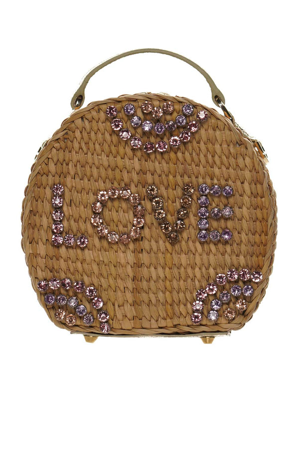 The Ariana Crystal Embellished Love Trunk Shoulder Bag