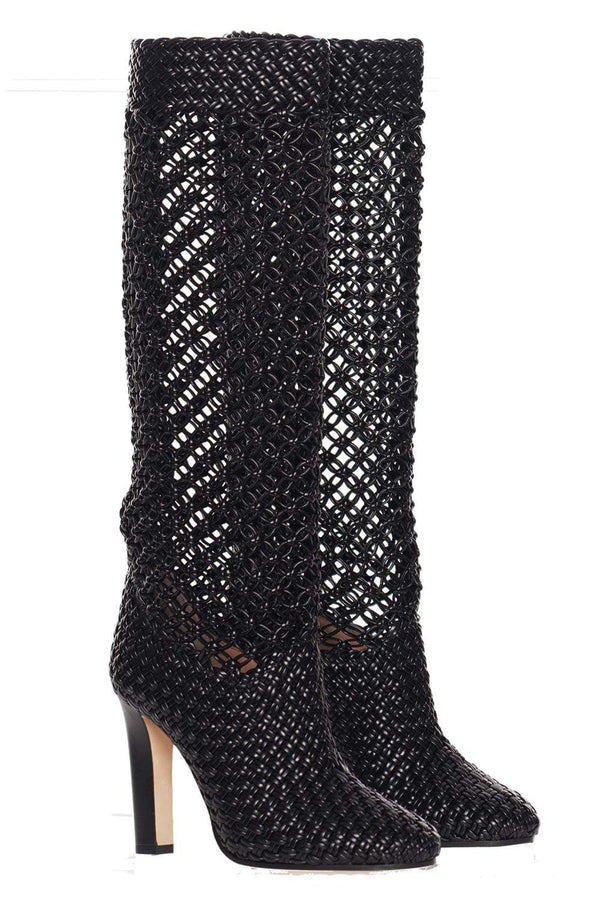 Alberta Ferretti - Black Woven Vegan Leather Heeled Boots