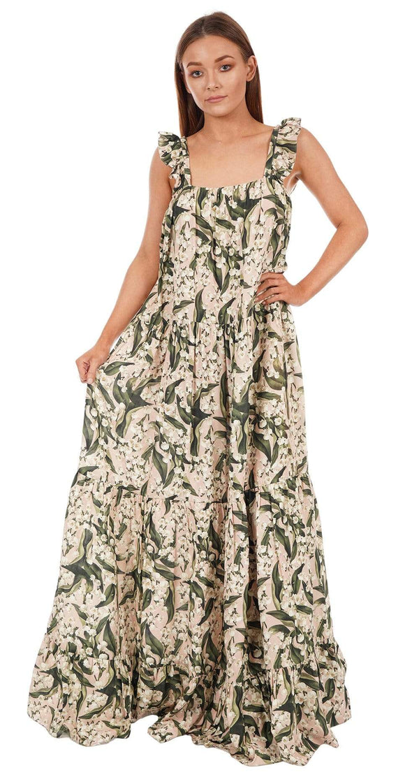 ADRIANA DEGREAS - Floral Print Ruffled Maxi Dress