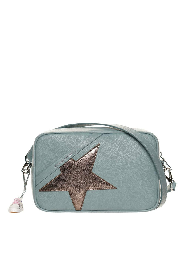 Logo Hammered Leather Star Crossbody Bag