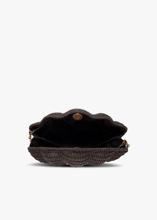 KAYU - Jane Black Straw Shell Clutch