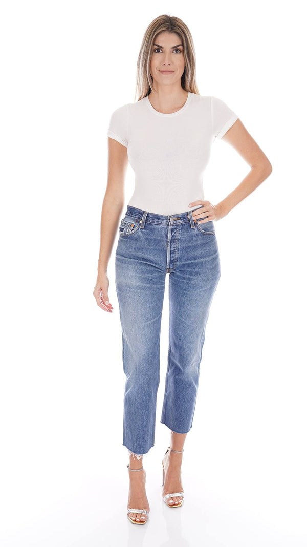 RE/DONE - Levi's High Rise Indigo Stove Pipe Cropped Jeans