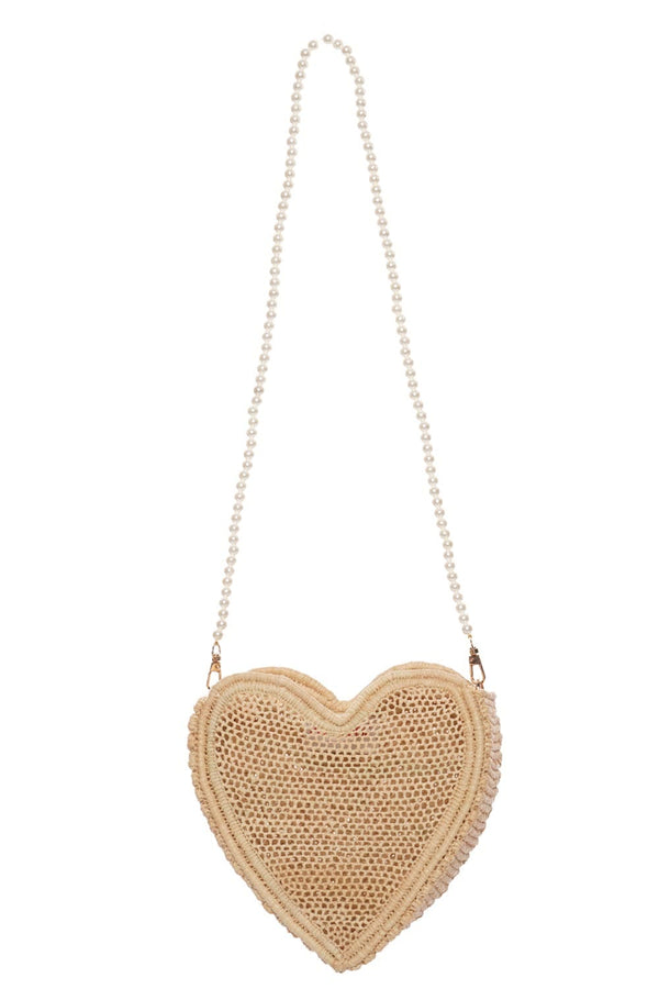 POOLSIDE - Heart Evening Bag With Pearl Strap