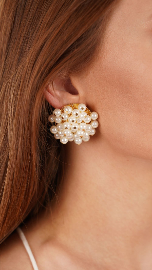Lele Sadoughi Ivory Pearl Petite Cluster Earrings