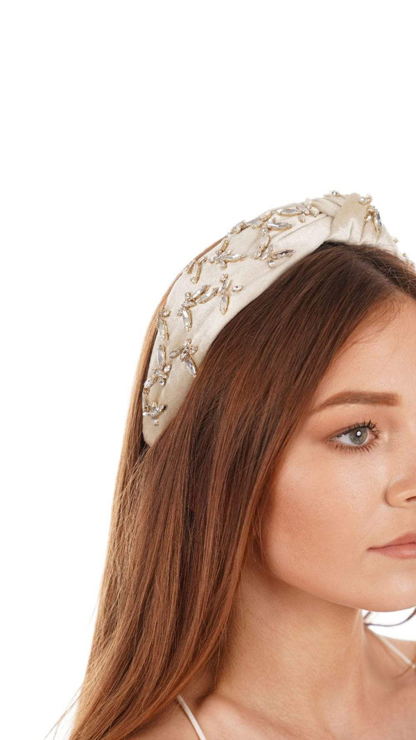 Lele Sadoughi Ivory Butterfly Jeweled Knotted Headband