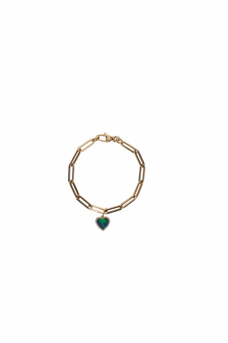 Meira T - 14K Yellow Gold Blue Opal Heart Chain Bracelet
