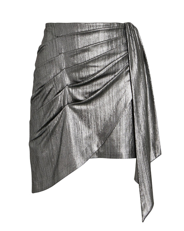 Retrofête - Luna Gunmetal Metallic Mini Skirt