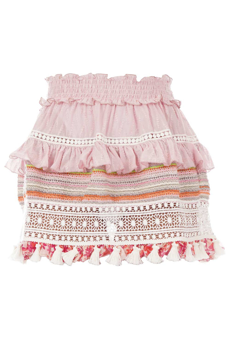 CHIO Ruffled Mini Skirt with Macrame