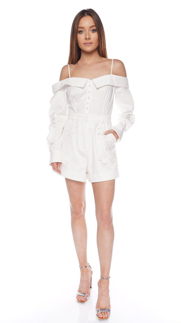 Off-Shoulder Embroidered Playsuit