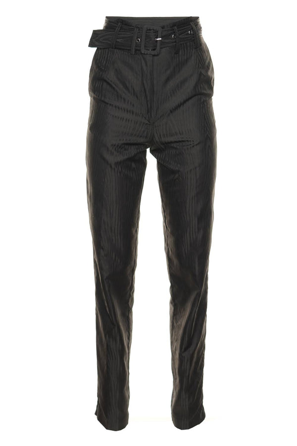 ROTATE Birger Christensen A/S Sia Belted Crepe Straight-Leg Trousers