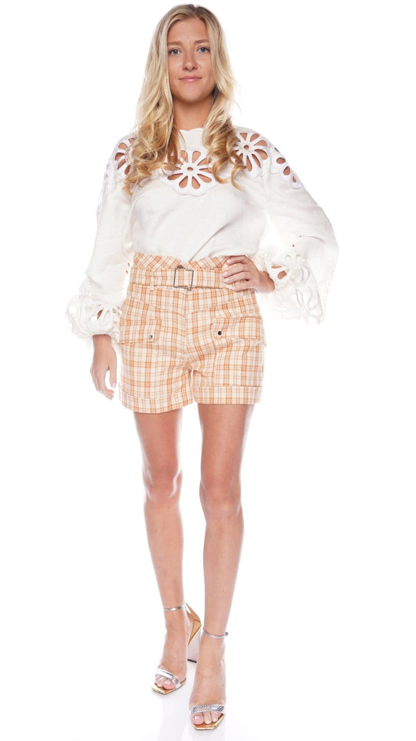 Prisha Plaid Tailoring Belted Cargo Shorts