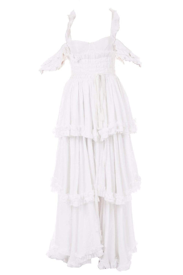 Brock Collection - Samanta White Tiered Cold-Shoulder Maxi Dress