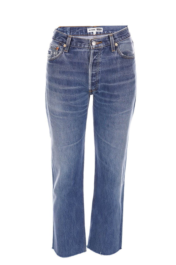 RE/DONE Levi's High Rise Indigo Stove Pipe Cropped Jeans