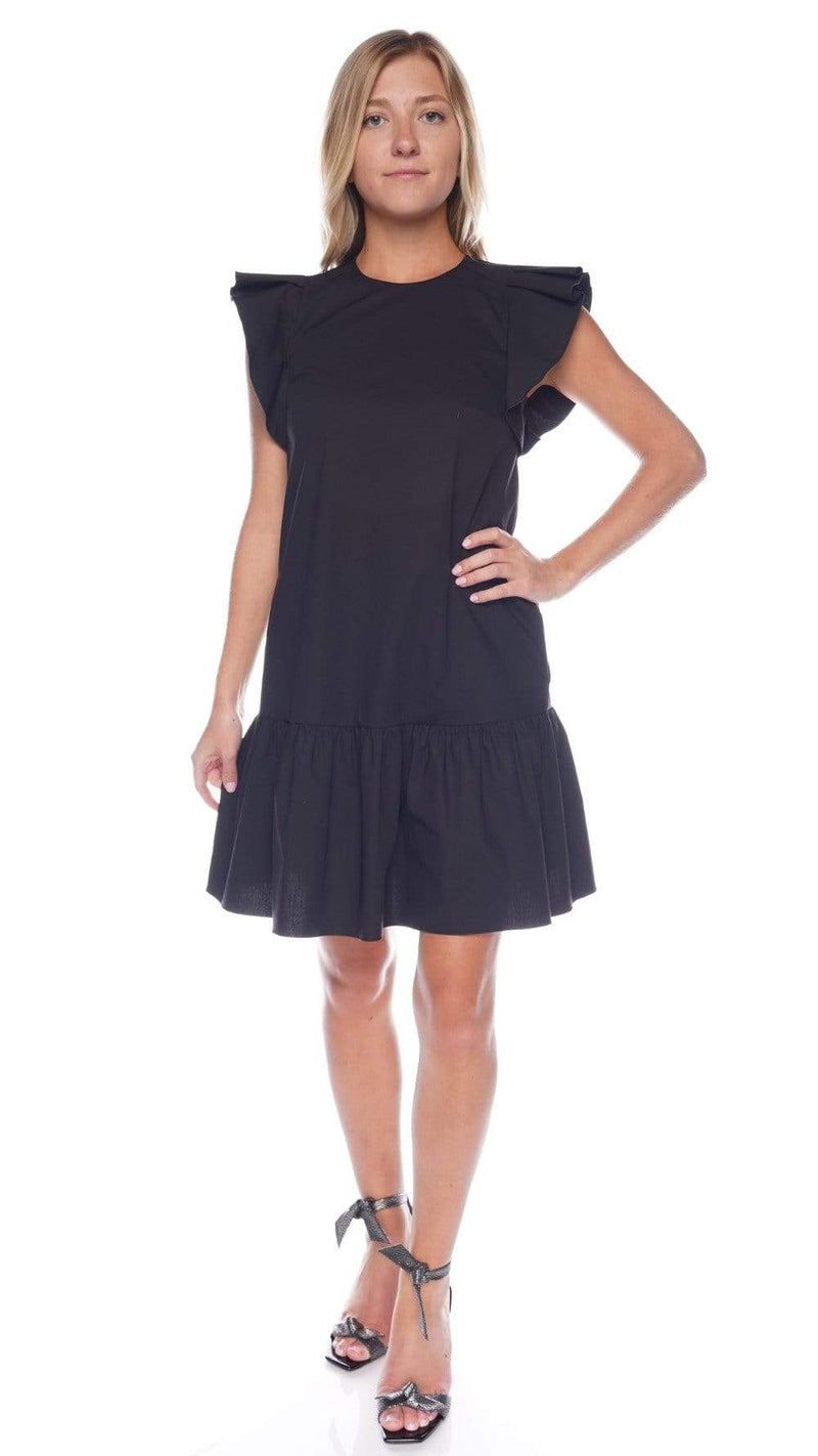 RED VALENTINO Black Flutter Sleeve Cotton Poplin Mini Dress