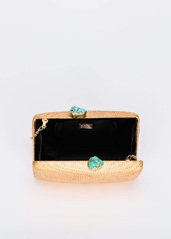 KAYU - Jen Gold Straw Clutch with Turquoise Stones
