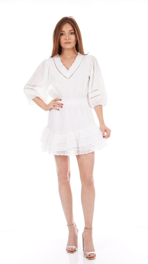 LoveShackFancy - Adley White Cotton Mini Dress
