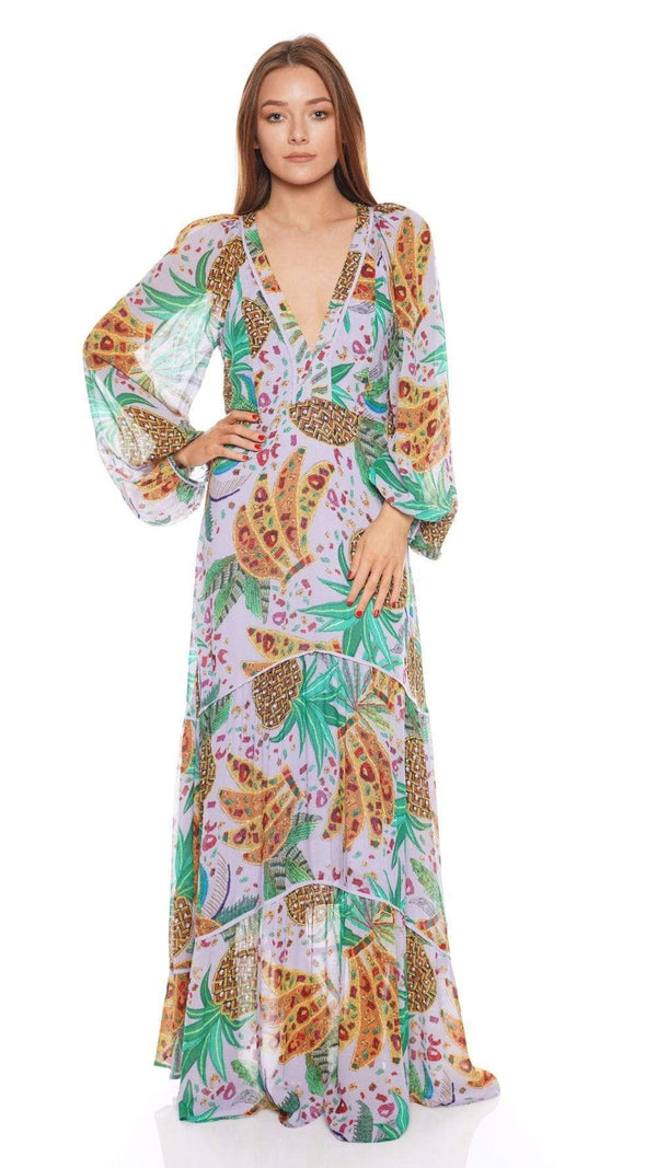 FARM Rio - Lilac Mixed Fruits Long Sleeve Maxi Dress