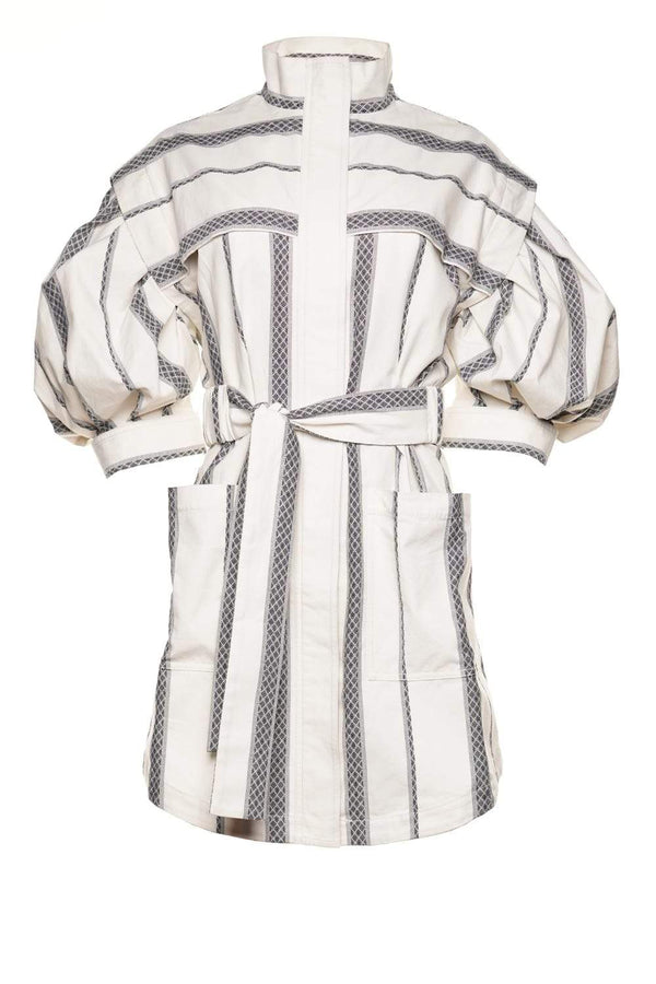 Kingsway Belted Puff-Sleeve Cotton Dress